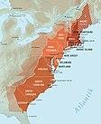 Neuengland-, Mittelatlantik- und südliche Kolonien. Transparente Färbung: Fläche der heutigen US-Bundesstaaten.