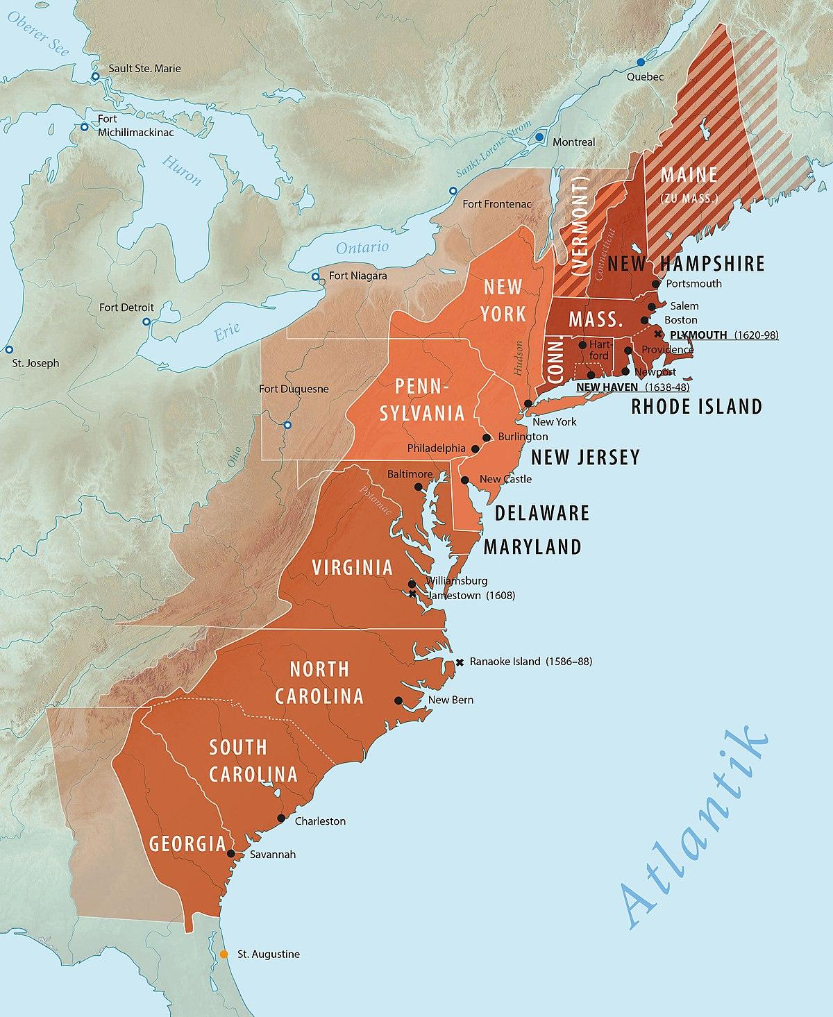 Dreizehn Kolonien – Wikipedia