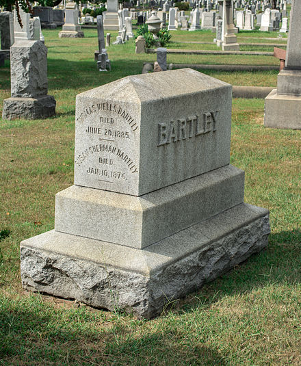 Grave of Thomas W. Bartley. Thomas Wells Bartley grave south side - Glenwood Cemetery - 2014-09-14.jpg
