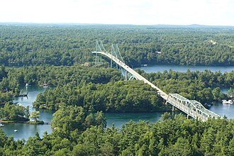 Thousand Islands Bridge - A view of the Canadian side of the bridge system from an observation tower just before the border crossing.