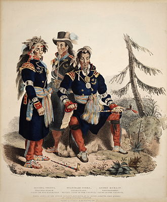 Wyandot people - Three Huron-Wyandot chiefs from the Huron reservation (Lourette) now called Wendake in Quebec Canada. After their defeat by the Iroquois, many Huron fled to Quebec with their French allies, where a reserve was set aside for their use. Others migrated across Lake Huron and the St. Clair River, settling in the Ohio region and Midwest.