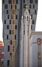 The tower of the Resurrection of Christ Orthodox Cathedral of Tirana