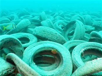Some 2 million tires were dumped off the coast...