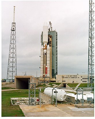 Cape Canaveral Air Force Station Space Launch Complex 41 - A Titan IV on LC-41 in 1996.  The steel towers visible at the left and right are part of the lightning protection system.