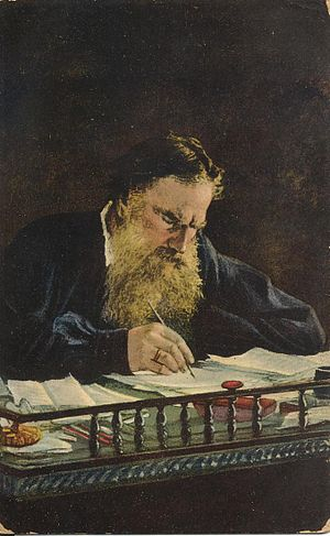 Leo Tolstoy at his desk