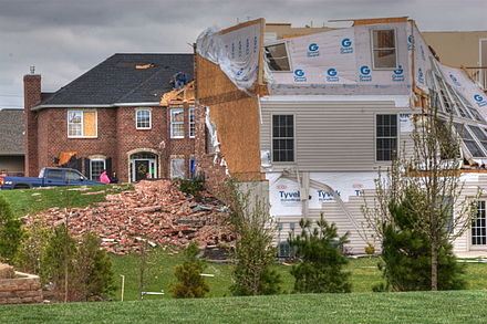 "This tornado damage to an Illinois home would be considered an ""Act of God"" for insurance purposes Tornado Damage, Illinois 2.JPG"