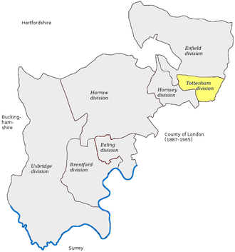 Tottenham (UK Parliament constituency) - UK House of Commons seat Tottenham (first creation) created in 1885, before 1918 abolition, excluding Bethnal Green, Hackney, Shoreditch, and Tower Hamlets small exclaves.