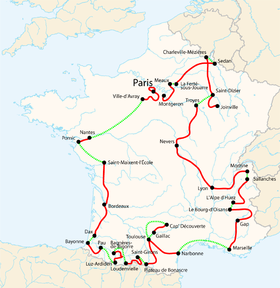 Carte des étapes du Tour de France 2003