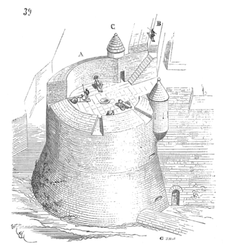 Roundel (fortification) - Roundel in Fort de Salses (southern France), 15th century, drawing by Viollet-le-Duc