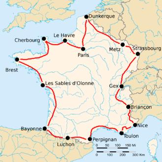 1924 Tour de France - Route of the 1924 Tour de France Followed counterclockwise, starting in Paris