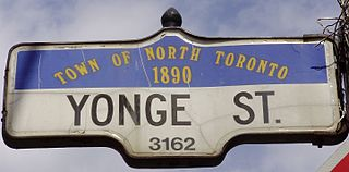 Yonge Street road from shores of Lake Ontario in Toronto to Lake Simcoe