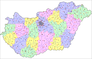 Administrative divisions of Hungary - The 198 districts of Hungary (2013)