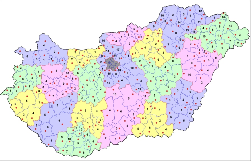 The current 174 administrative districts (jaras) of Hungary Townships (districts) of Hungary.png