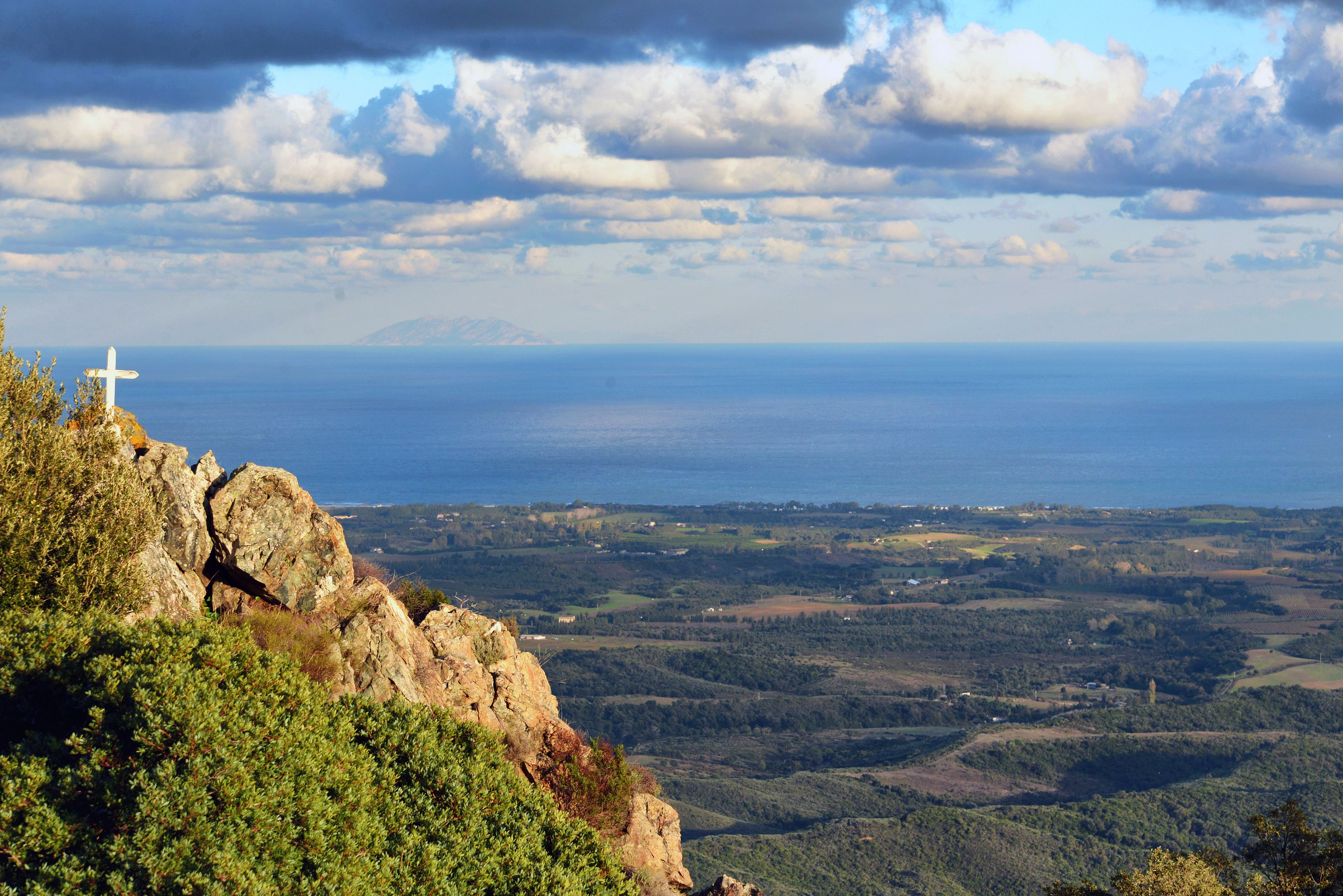 Tox, Costa Verde (Corsica) - The plain of Linguizzetta and the island of Montecristo seen from the chapel of Our Lady of Grace,( Notre-Dame des Grâces)