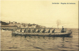 Trainera - Sports trainera participating in a regatta in the Bay of Santander, Cantabria, in the early 20th century.