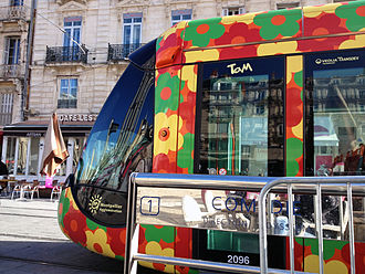 Montpellier tramway - Orange with flowers livery on Line 2.