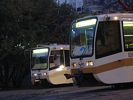 Twee trams in Moskou, 2005