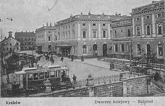 Trams in Kraków - SW1 tram near Kraków Main Station in 1916