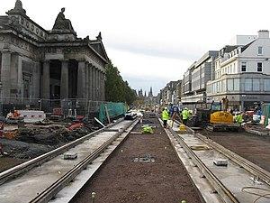 Edinburgh Trams - Tracks being laid on Princes Street in November 2009