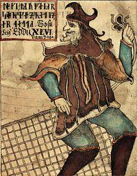 Loki tel que représenté dans le manuscrit MS NKS 1867 4° du XVIIIesiècle.