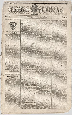 Tree of Liberty (newspaper) - Front page, 13 February 1802
