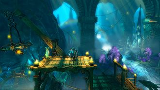 Trine (video game) - Game screenshot including Amadeus the Wizard and Pontius the Knight