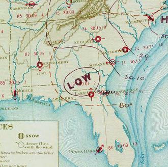 1873 Atlantic hurricane season - Image: Tropical Storm One analysis 2 Jun 1873