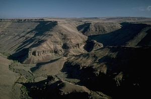 Dry country with a canyon and some smaller canyons as seen from above