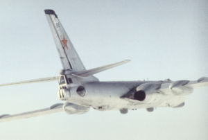 Tupolev Tu-16 - Rear side view of a Tu-16 Badger reconnaissance variant (most likely Tu-16R) (1989)
