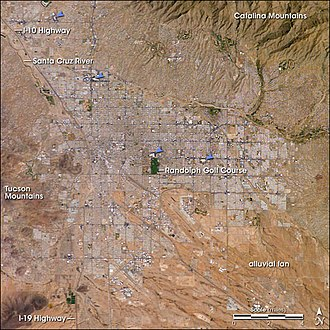 Tucson, Arizona - Tucson, as seen from space. The four major malls are indicated by blue arrows.