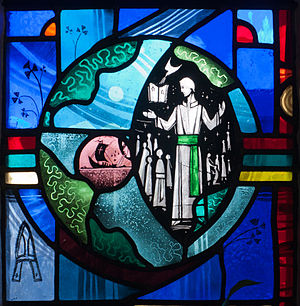 Patrician Brothers - A teaching Patrician Brother in his habit on a stained glass window in Tullow, created by George Walsh
