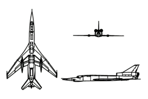 Orthographic projection of the Tupolev Tu-160.