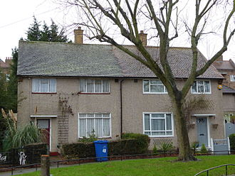 Housing in the United Kingdom - Semidetached council houses. 3 Beds, front/back garden. built 1950s, cost to council £(2012) 55,000 .