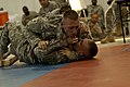 U.S. Army Spc. Nicholas Peterson, combat medic assigned to the 5502nd U.S. Army Hospital, Army Reserve Medical Command, Grapples with Spc. Devron West, chemical specialist, during the Combative portion of 130627-A-CV053-001.jpg