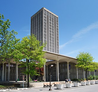 State Quad is one of the four iconic dormitory towers at SUNY Albany's Uptown Campus. UAlbanyStateQuad.jpg