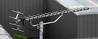 Yagi–Uda antenna - A modern high gain UHF Yagi television antenna with 17 directors, and  one reflector (made of 4 rods) shaped as a corner reflector.