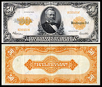 $50 Gold Certificate, Series 1922, Fr.1200a, depicting Ulysses Grant