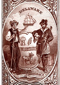 Delaware state coat of arms from the reverse of the National Bank Note Series 1882BB