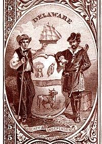 Delaware devlet arması Ulusal Banknot Serisi 1882BB ters