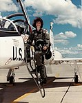 USAF Female Pilot Col. Robyn Slade stands proudly with her T-38 Talon she flew at initial pilot training (170521-F-AA000-0001).jpg