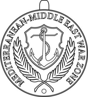 Merchant Marine Mediterranean-Middle East War Zone Medal - Image: USA Merchant Marine Mediterranean Middle East War Zone Medal obverse
