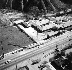 1971 San Fernando earthquake - Ground level and overhead view of the scarp at the Foothill Nursing Home