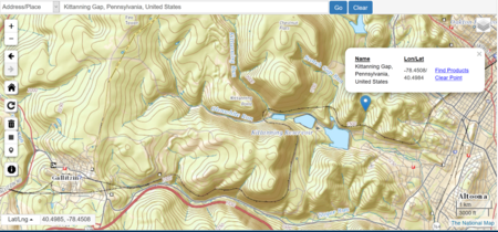 USGS overview indicating Kittanning Gap's, Pennsylvania location near Altoona, PA and showing the PRR Horseshoe Curve.png