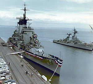 Albany-class cruiser - Chicago on the day of her commissioning in 1964