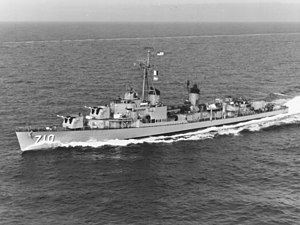 USS Gearing (DD-710) in the Mediterranean Sea in 1960.