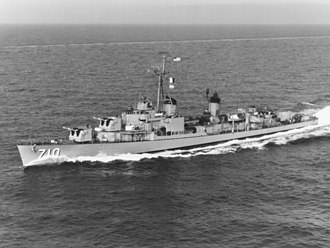 Gearing-class destroyer - USS Gearing (DD-710) in the Mediterranean Sea in 1960.