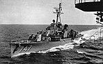 USS Samuel N. Moore (DD-747) underway in the Pacific Ocean, circa in 1957.jpg