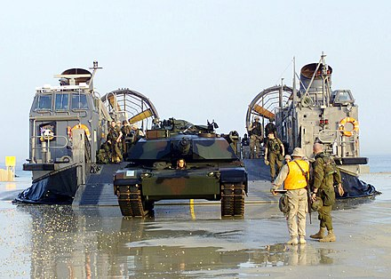 US Marine M1A1 tank is off-loaded from a US Navy LCAC in Kuwait in February 2003 US Navy 030215-N-2972R-045 M1A1 tank off-loads from LCAC.jpg