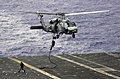 US Navy 031017-N-4284T-003 Explosive Ordinance Disposal Mobile Unit Eleven Detachment One (EOD MU11 DET 1) fast rope out of a HH-60H Seahawk.jpg