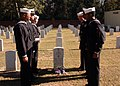 US Navy 041208-N-6332F-003 Sailors assigned to the guided missile destroyer Precommissioning Unit (PCU) James E. Williams (DDG 95), pay their respects during a memorial ceremony honoring Boatswain's Mate 1st Class James E. Will.jpg